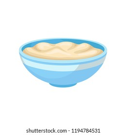 Soft bean curd in a bowl, healthy diet food, vegan source of protein vector Illustration on a white background