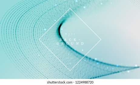 Soft blue abstract wave dynamic background with defocused, blurred particles. Can be used for science brochure, fantasy poster and creative cover. Vector illustration