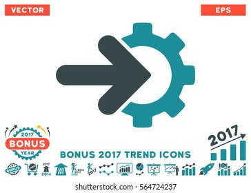 Soft Blue Gear Integration icon with bonus 2017 year trend pictures. Vector illustration style is flat iconic bicolor symbols, white background.