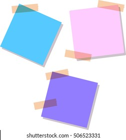 Soft blue, purple and pink Sticky notes, isolated on white background, vector illustration