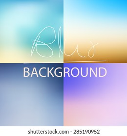 soft blurred abstract background set collection in subtle blue sky colors,vector illustration,instagram style