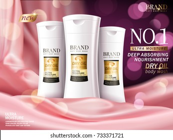 Soft body wash ads, luxury scene with pink satin and glittering elements in 3d illustration