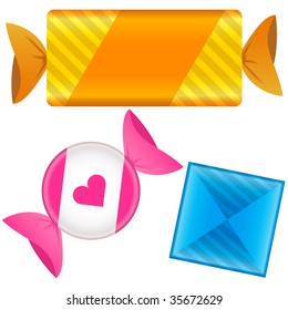 Soft candy in wrapper.  Vector set includes bar and circle shapes, as well as square lozenge shape.  Could be caramels, chocolate, or toffee.