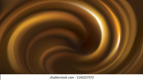 Soft circular mixed curvy eddy rippled fond. Yummy volute frosting fluid. Melt sweet pure cocoa choco surface with space for text on deep sepia chestnut color