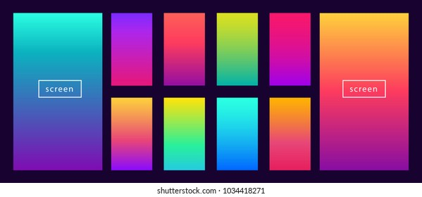Soft color background on dark. Modern screen vector design for mobile app. Soft color abstract gradients.