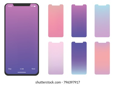 Soft color gradients background for mobile app. Material Design, UI, UX and GUI Screens