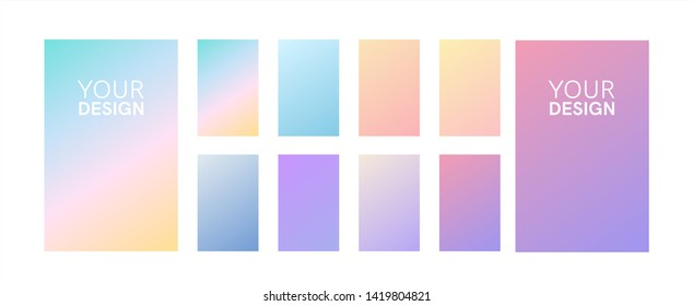 Soft color gradients set. Background for app, greeting card, flyer, invitation, poster, brochure, banner. Simple modern design. Retro vibrant palette.