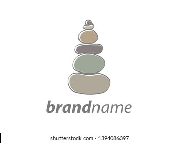soft color illustration logo design stone balance.