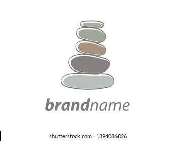 soft color illustration logo design stone balancing.