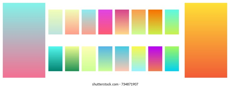 Soft color mobile screen app gradient background template. Modern abstract hipster style mild gradient application screen design kit collection. Vector illustration