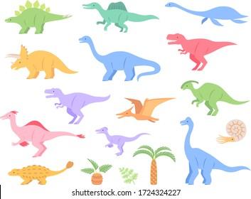 Soft colored dinosaur illustration icon set
