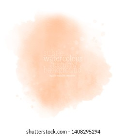 soft coral graphic watercolor splash on white background, subtle brown water color. tangerine ink stain texture illustration. abstract pastel apricot smudge color paper. eps 8