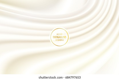 Soft creamy satin or silk background. Creamy swirl. Vector illustration for your graphic design.