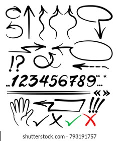 soft curved and lines arrows, soft hand draw, vector set arows on white Background. vector set of calligraphic acrylic or ink numbers. ABC for your design,lettering