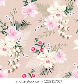 Soft and delicate orchid floral garden flower tropical mood ,seamless pattern in vector design for fashion,fabric,wallpaper, and all prints on soft pink background color