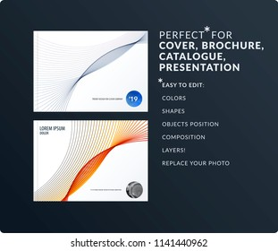 Soft design presentation template with colourful waves and lines. Abstract vector set of modern horizontal banners