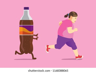 Soft drink chasing fat woman while she run away. illustration about diet and lose weight.