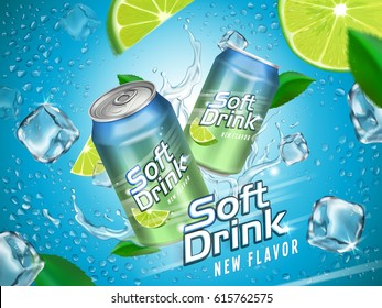 soft drink contained in metallic cans with lemon and ice cube elements, light blue background