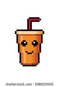Soft drink icon. Fruit juice. Soda, cola in disposable cup. Fast food. Cocktail. Pixel art. Vector Illustration isolated on white background.