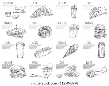 Soft drink and italian pizza sketches on posters. Hamburgers and fried chicken served with sauce. Ice cream and noodles in box vector illustration