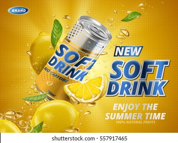 soft drink lemon flavor contained in yellow metal can, orange background
