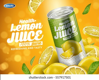 soft drink lemon flavor contained in green metal can, cut lemon elements and blurred background