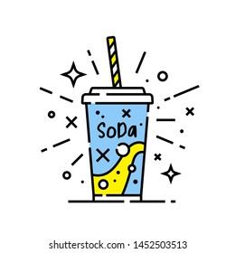 Soft drink line icon. soda symbol. Cold drink sign. Vector illustration.