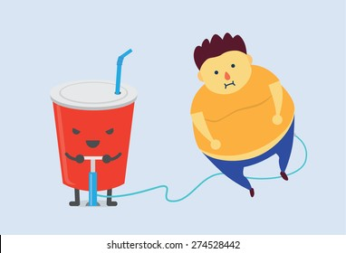 Soft drink make man fat fast with air pump