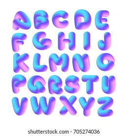 Soft Flexible Neon 3D Alphabet On A White Background Vector Isolated Letters