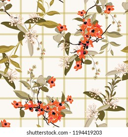 Soft and gentle  blooming garden flowers on  window check or grid seamless pattern vector scatter repeat for fashion,fabric ,and all prints on white background.