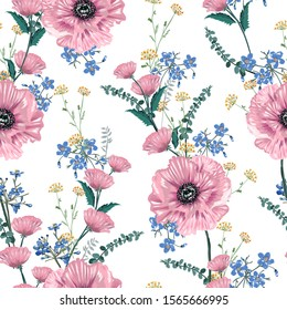 Soft and gentle of blooming pink poppy florals and garden flowers seamless pattern illustration hand drawn style ,Design for fashion ,fabric,wallpaper,and all prints on white