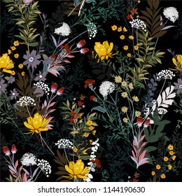 Soft and gentle Dark garden in the night full of  blooming flower in many kind of florals seasonal seamless pattern vector ,hand drawing style for fashion, fabric and all prints on black background.