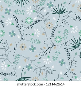 Soft and gentle Embroidery colorful floral seamless pattern with liberty botanical leaves. Vector  flowers bouquet on light blue background for textile design