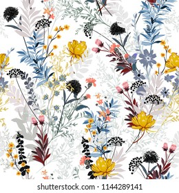 Soft and gentle in the garden full of  blooming flower in many kind of florals seasonal seamless pattern vector ,hand drawing style for fashion, fabric and all prints on white background.