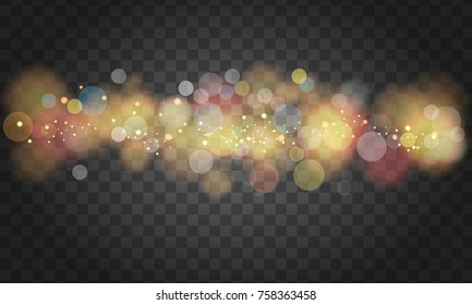 Soft glowing colored bokeh and lights. Illustrated vector.