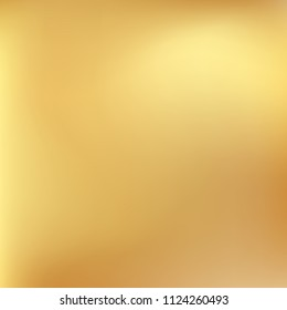Soft golden gradient. Blurred abstract background. Gold gradient blurry blend. Holographic illustration. Smooth texture. Beautiful natural light vector. Holographic soft golden mesh. Light design.
