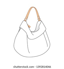 soft Hobo bag, daily Hobo purse, vector illustration sketch template isolated on white background
