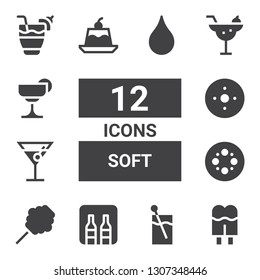 soft icon set. Collection of 12 filled soft icons included Cream, Cocktail, Minibar, Cotton candy, Blur, Jelly