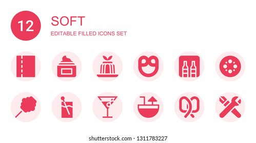 soft icon set. Collection of 12 filled soft icons included Toilet paper, Cream, Jelly, Pretzel, Minibar, Cotton candy, Cocktail, Blur, Skills