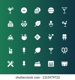 soft icon set. Collection of 25 filled soft icons included Diaper, Minibar, Cream, Dummy, Skills, Pretzel, Cocktail, Cotton candy, Cocktails, Pillow, Jelly, Pacifier, Pad, Blur