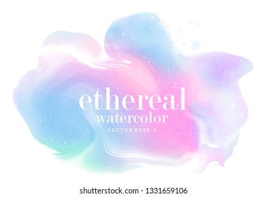 soft pastel alcohol ink stain. rainbow watercolor splash. holographic vector design element. modern abstract colorful fluid paint on white paper. mixed gradient colors ethereal background. eps 8