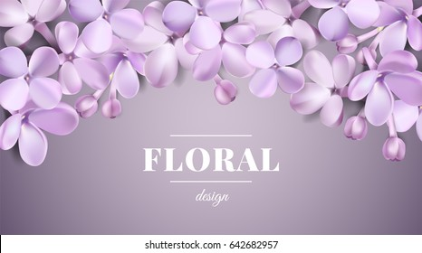 Soft pastel color floral 3d illustration on violet background. Purple Lilac flowers and petals watercolor style vector illustration template with text