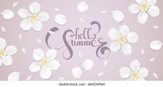Soft pastel color floral 3d illustration on pink background. White wild Camomile and Sakura flowers with petals watercolor style vector template. Hello Summer text horizontal banner
