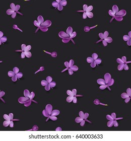 Soft pastel color floral background. Purple Lilac flowers and petals watercolor style, black vector seamless pattern