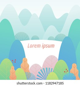 soft pastel color gradation mountain and leaf background template. flat design style vector graphic illustration