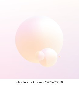 Soft pastel colored gradient Holographic spheres floating on a light pink and orange background
