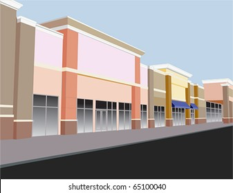 soft pastel colored strip mall in shades of coral, beige, and brown