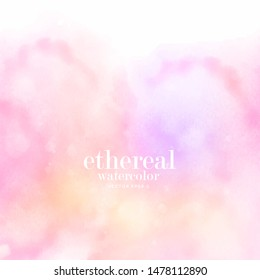 soft pastel colorful aquarelle on white background. golden pink gradient ink stain splatters design element. abstract ethereal watercolor textured splash. eps 8
