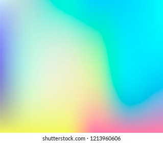 Soft pastel iridescent texture of holographic foil with rainbow stains. Vaporwave style vector background.