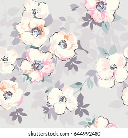 soft pastel like watercolor flower print - seamless background
